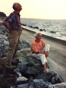 Mom and Dad in the early 1990s. Their children and grandchildren were gathered just behind the rocks.