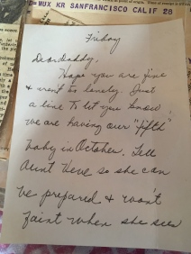 The note my mother wrote to inform my grandfather that she was pregnant yet again, for the fifth time in eight years.