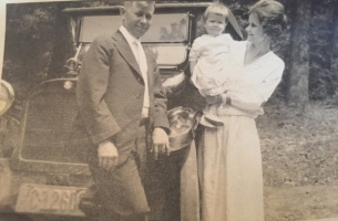 My grandmother, a cheerful and briskly efficient woman, pictured with my grandfather and my mother at about a year old.