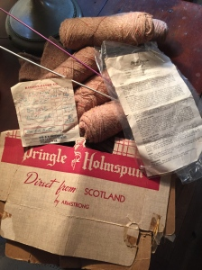 Skeins from Mom's knitting phase, which apparently was short-lived. (See below for half-finished product). But you gotta love that wool! Receipt dated Feb. 2, 1957.