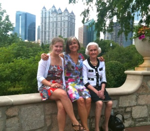 Generational pic, with handbag :) More importantly, with a true smile from Mom. May 2010.