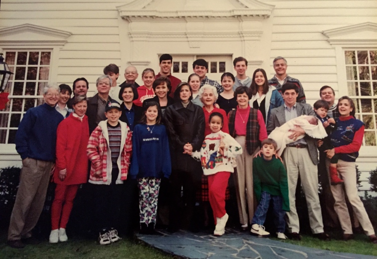 One of the last times our brood was all together, sans my youngest. The '90s, complete with tacky Xmas sweaters.