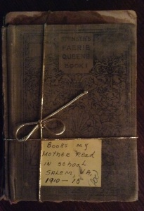 "A crumpled stack tied in gold, Spenser's Faerie Queene among them. Mom's note reads, ""Books my mother read in school. Salem, VA, 1910-1915."""