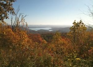 Color change in Lake Toxaway, North Carolina