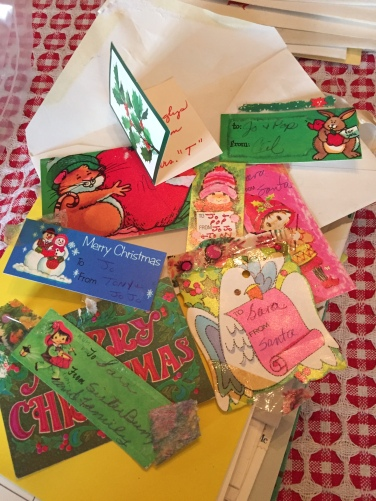 A sampling of my mother's gift tag collection